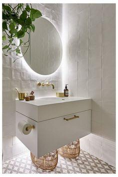 The Block 2019 Oslo Guest Ensuite bathroom ideas bathroom vanity backlit bathroom mirror white and brass bathroom Backlit Bathroom Mirror, Brass Bathroom, Bathroom Lighting, Zen Bathroom, Bathroom Goals, Bathroom Inspo, The Block Bathroom, Parisian Bathroom, Minimal Bathroom
