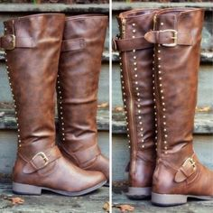 on sale cc1c6 f0431 Land Explorer Brown Studded Zipper Boots from Amazing Lace