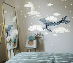 Watercolour Whale Wall Decal - Marine Dreams Wall Decal - Whales in Sky Wall Decals
