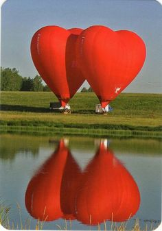 2 red hearts -- 2 red heart hot air balloons