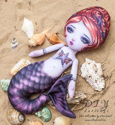 Shelley Stars - Printed Cloth Mermaid Doll Pattern - DIY Darling