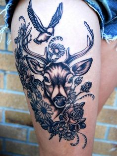 Deer and bird Tattoo - Deer tattoos are loved by people for many of their symbolic meanings carried by the soft and humble animal. Dear tattoos may not present the sense of strength or protection like other animal tattoos, elephant tattoos, lion tattoos or tiger tattoos, but invoke the deep inner personality of gentleness, kindness. Deer tattoos are inked by both men and women and become more and more popular.