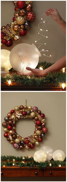 Christmas Table Light Decorations using ordinary light fixture globes and battery-powered LED lights