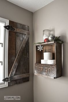 How to build your own barn wood shutter via http://www.funkyjunkinteriors.net/ I want them on the outside though.
