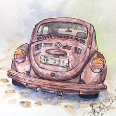ink and watercolour VW beetle (by Ilza Linssen)