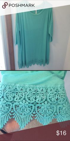PLUS SIZE CROCHET TRIM TUNIC Turquoise tunic top with crochet trim and 3/4 sleeves. Brand new without tags. Tops Tunics