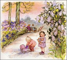 """This is another delightful illustration by the artist Shirley Hughes from her book """"Colours"""" from her nursery series. Pictures To Draw, Art Pictures, Art Images, Shirley Hughes, Picture Story Books, Children's Book Illustration, Book Illustrations, Vintage Artwork, Penny Black"""