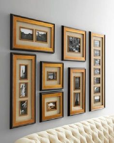 Set/7 Wall Collage Multi PHOTO FRAMES Wood Antiqued Gold Leaf Picture Horchow #Newark