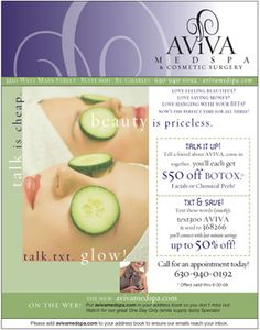AVIVA Med Spa & Cosmetic Surgery, St. Charles, IL,  Medical Spa,  Design and produce Seasonal e-blasts for current discounts and special promotions.