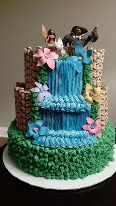 Moana waterfall cake
