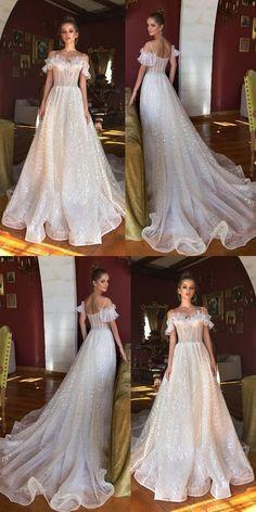 Vintage Sequin A-Line Beaded Wedding Dresses b24b59cbfc31