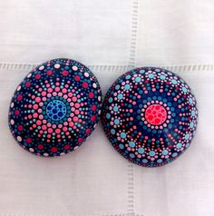 Set of Two Hand painted Stone Dots Mandala- Meditation- Pebble Colourful Art-Indian-Pointillism-Dot Art-Sea Rocks-Vibrant Mandala Painting, Dot Painting, Painting Patterns, Stone Painting, Mandala Meditation, Crystals And Gemstones, Stones And Crystals, Painted Rocks, Hand Painted