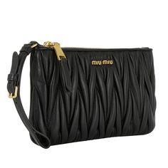 Handtasche, Miu Miu, Pochette Wristlet Matelassé Black