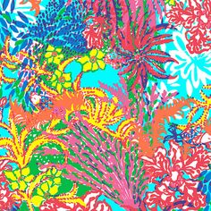 Lilly Pulitzer Fabric Multi FISHING FOR COMPLMENTS  Colorful Fish Coral