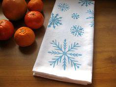 Snowflake Kitchen Towel block print flour sack by jessnielsen
