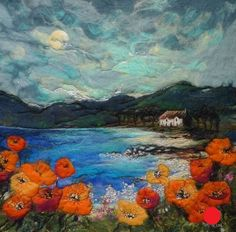 "Moy Mackay's ""By Poppy Shore"" - Felt Painting Felt Wall Hanging, Landscape Art Quilts, Felt Pictures, Nuno, Wet Felting, Needle Felting, Textiles, Wool Art, Art Textile"