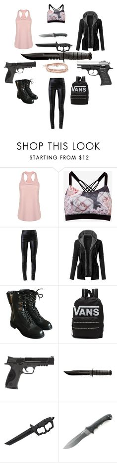 """""""Zombie apocalypse #7"""" by anellingson ❤ liked on Polyvore featuring USA Pro, Ted Baker, Helmut Lang, LE3NO, Sergio Rossi, Vans, Smith & Wesson, Cold Steel, Handle and Chan Luu"""