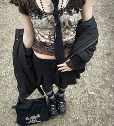 Edgy Outfits, Swag Outfits, Pretty Outfits, Cool Outfits, Fashion Outfits, Vintage Goth, Alternative Outfits, Alternative Fashion, Harajuku