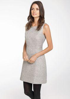 Effen mouwloze tweed jurk - STEEL GREY - 782254
