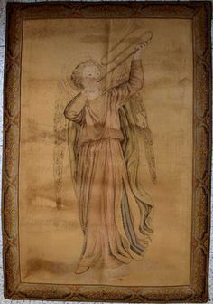 Etsy のAngel Playing Trumpet Music Gobelin Tapestry Fra Angelico Early Renaissance Vintage Antique Panel Textiles Interior /287(ショップ名:GliciniaANTIQUE)