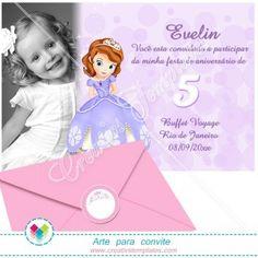 Convite com foto Princesa Sofia