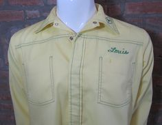 Mens MEDIUM John Deere uniform shirt vintage yellow with Louis embroidered on front by Vintrowear, $40.00