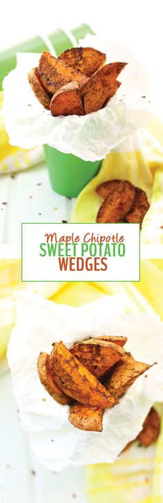 These sweet and savory Maple Chipotle Sweet Potato Wedges are your next dinner staple! They're tossed in olive oil and real maple syrup, sprinkled with spices, and baked on high heat until crispy and caramelized.