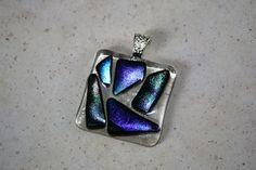Multi Colored Dichroic Pendant by ChelestersCreations on Etsy, $15.00