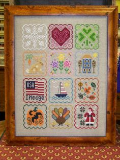 Month by Month - Cross Stitch Pattern   -   I would like to use this idea for small houses or animals!