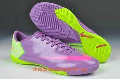 Purple Fluorescent Yellow Nike Mercurial 2013 Vapor X IC Indoor Soccer Boots