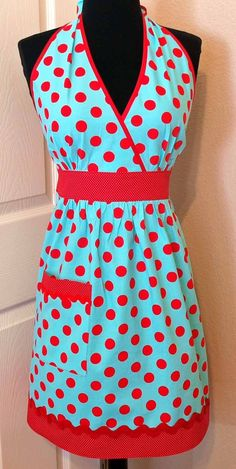love the red and aqua, fun polka dots, and crossover top.