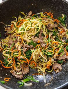 Japchae zucchini noodles with beef. Check MFP for subs. Under 300 cals. #beeffoodrecipes
