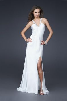 A-Line Deep V- Neckline Halter Strap Ruffles with Split on the Skirt Floor Length Zipper Chiffon prom dress
