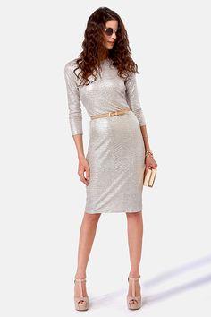 Sexy Silver Dress - Midi Dress - Long Sleeve Dress