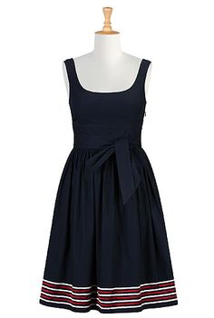 I <3 this Embellished stripe hem poplin dress from eShakti