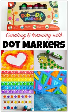 9 fun and easy ideas for creating and learning with dot markers. See how versatile dot markers can be for helping kids to learn and have fun! Great ideas for art projects, patterning, math, letters, and more learning that kids will enjoy! || Gift of Curio