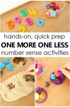 One More One Less Number Sense Activities Fantastic Fun Learning Handson quick prep one more one less number sense activities for math small groups in preschool and kin. Numbers Kindergarten, Kindergarten Math Activities, Numbers Preschool, Math Numbers, Learning Numbers, Fun Math, Fun Learning, Early Learning, Early Math
