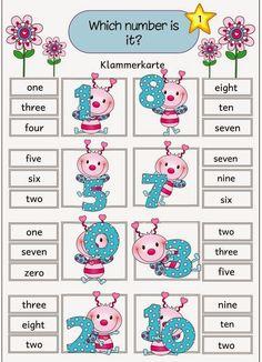"""Vier Klammerkarten zum Thema """"numbers"""" Mit diesen Klammerkarten lassen sich die englischen Zahlen von 1 bis 10 üben. Die Karten wieder..."""