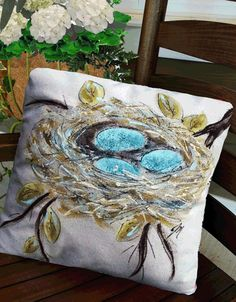 Spring Celebrations, Decorative Bed Pillows, Robin's Nest Pillow, Indoor/Outdoor, Hand-painted Robin's Nest with Blue Eggs Pillow Cover