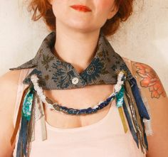 Blue collar necklace Peter pan collar Flower fabric necklace Textile necklace Fiber necklace Peter pan necklace Gypsy necklace. , via Etsy.    https://www.etsy.com/listing/107468606/blue-collar-necklace-peter-pan-collar?ref=v1_other_2
