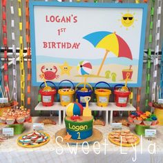 Beach themed 1st Birthday party. ideas for a cool indoors beach bucket birthday cake,  drinks and food. @kidspartyspace