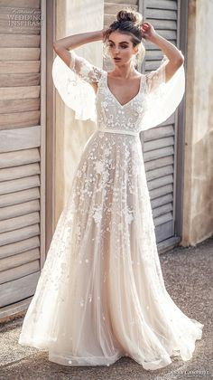 anna campbell 2019 bridal half handkerchief sleeves v neck full embellishment romantic pretty soft a  line wedding dress blackess open back sweep train (1) mv -- Anna Campbell 2019 Wedding Dresses | Wedding Inspirasi #wedding #weddings #bridal #weddingdress #bride ~