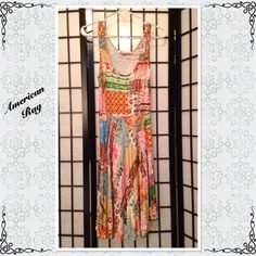 """HP American Rag Patchwork Sundress 37"""" long from shoulder. I removed the size tag because it was rubbing on my neck. (I hate that). Very soft and flowing. In VG condition. American Rag Dresses"""