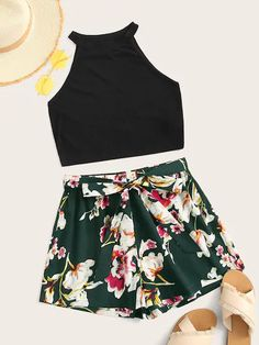 Rib-knit Halter Top Floral Belted Shorts Set - 18 00 - Rib-knit Halter Top Floral Belted Shorts Set Source by - Summer Outfits For Teens, Summer Fashion Outfits, Really Cute Outfits, Cute Casual Outfits, Crop Top Outfits, Short Outfits, Teenager Outfits, Girl Outfits, Belted Shorts