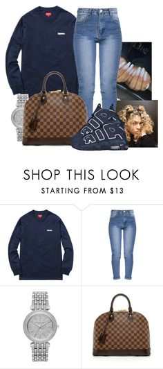 """im @ saks witcha boo"" by jaysational ❤ liked on Polyvore featuring Michael Kors, Louis Vuitton and NIKE"