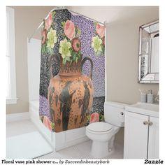 Floral vase pink shower curtain