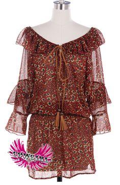 Cowgirl Clad Company - Animal Print Ruffle Dress, $46.00 (http://www.cowgirlclad.com/animal-print-ruffle-dress/)