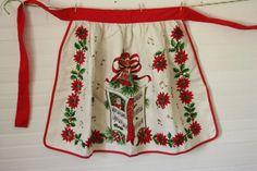 Christmas Apron Vintage Hostess Half Linen by verykitschychristmas, $12.50