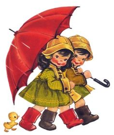 Vintage Pair with Umbrella