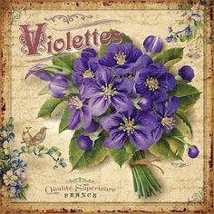 Violets. Label.
